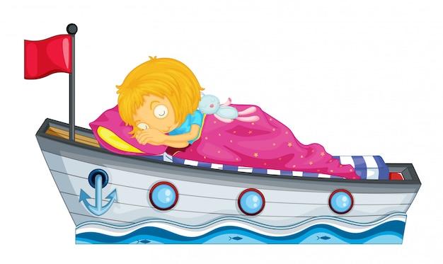 Um, menina jovem, dormir Vetor grátis
