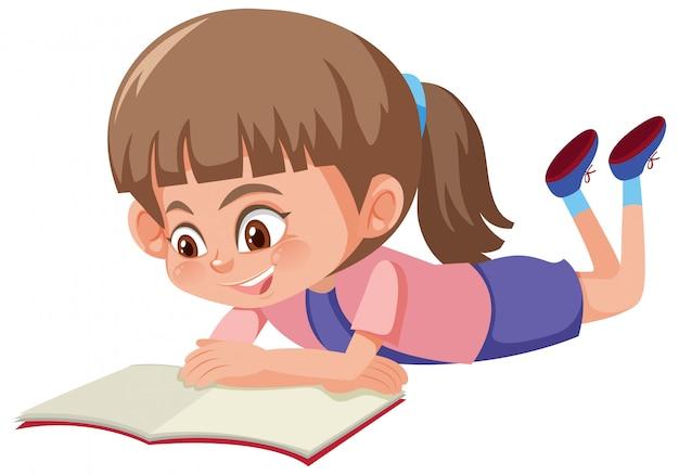 Um Menina Lendo Um Livro Branco Fundo Vetor Premium