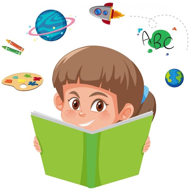 Um, menina, livro leitura Vetor Premium