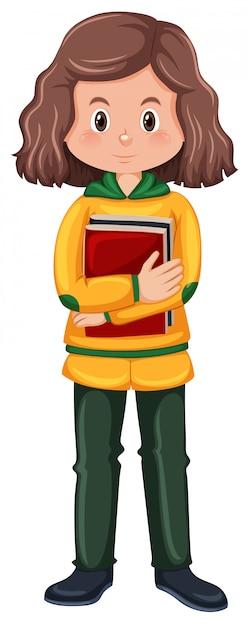 Um, menina morena, estudante, personagem Vetor grátis
