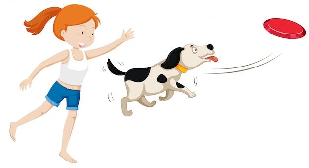 Um, menina, treinar um cão Vetor grátis