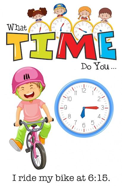 Um menino andando de bicicleta às 6:15 Vetor grátis
