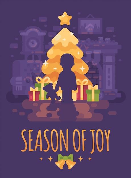 Um, menino, com, urso teddy, perto, árvore natal, com, presentes Vetor Premium