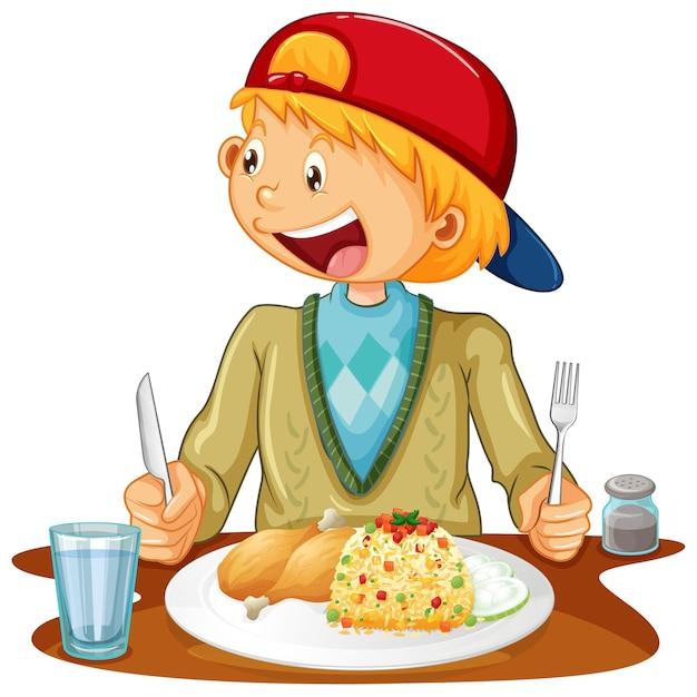 Um menino comendo na mesa em fundo branco Vetor grátis