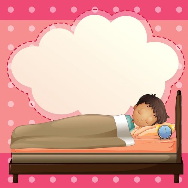 Um menino dormindo com um modelo de texto explicativo vazio Vetor Premium