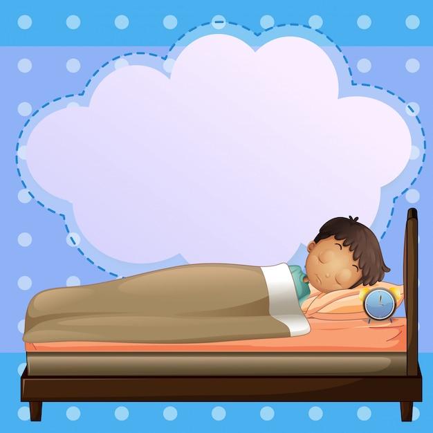Um menino dormindo profundamente com um texto explicativo vazio Vetor Premium