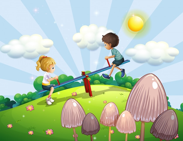 Um menino e uma menina montando uma gangorra Vetor grátis