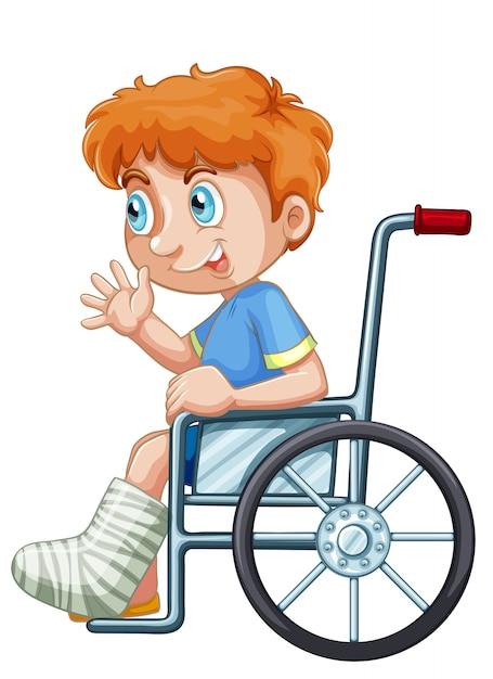 Um, menino, ligado, cadeira rodas Vetor grátis