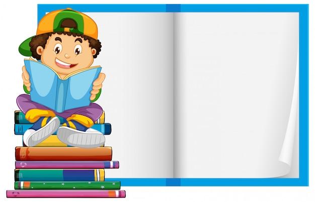 Um menino no fundo de páginas de livro em branco Vetor grátis