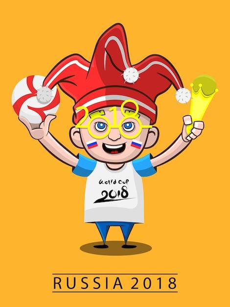 Um menino pega bola e troféu copa do mundo 2018 desenhos animados ... e05e91e9a3404