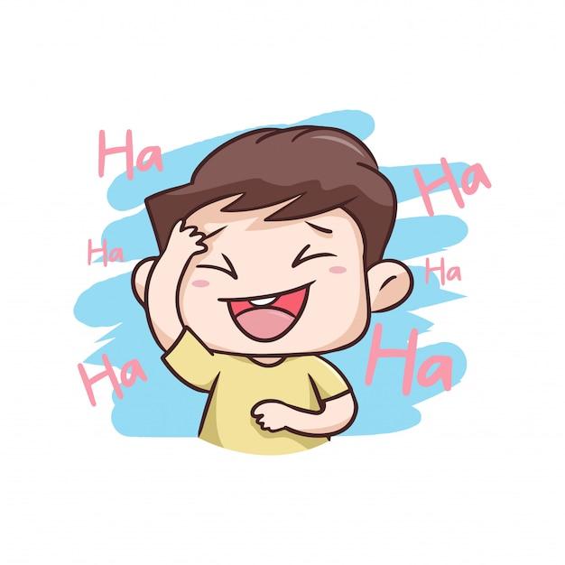 Um menino rindo muito feliz ilustração Vetor Premium