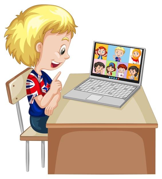 Um menino se comunica por videoconferência com amigos em fundo branco Vetor grátis