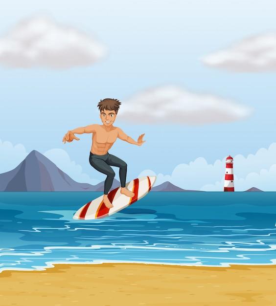 Um menino surfando na praia Vetor grátis