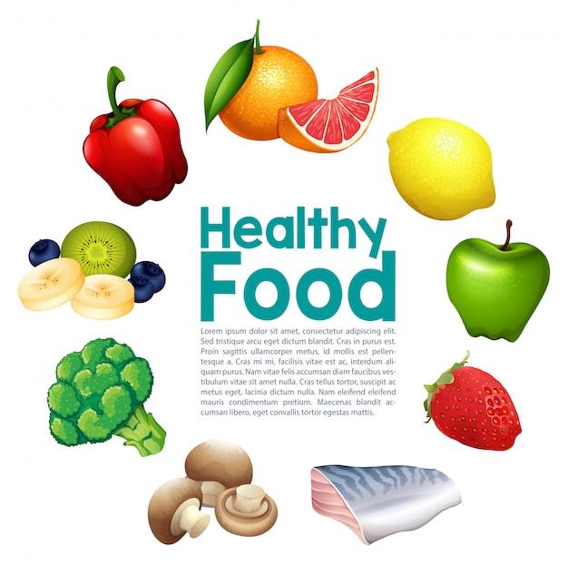 Um modelo de comida saudável Vetor Premium