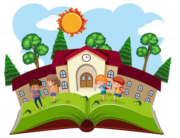 Um modelo de escola de livros Vetor Premium