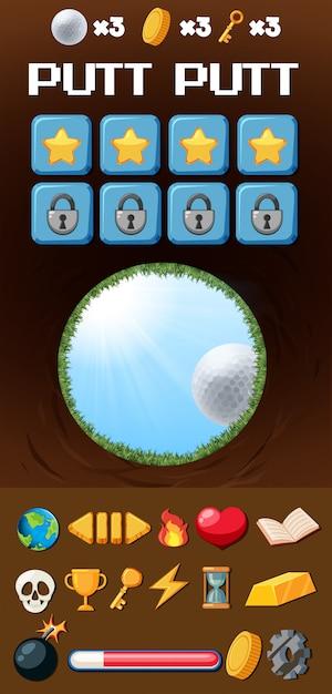 Um modelo de jogo de golfe Vetor grátis