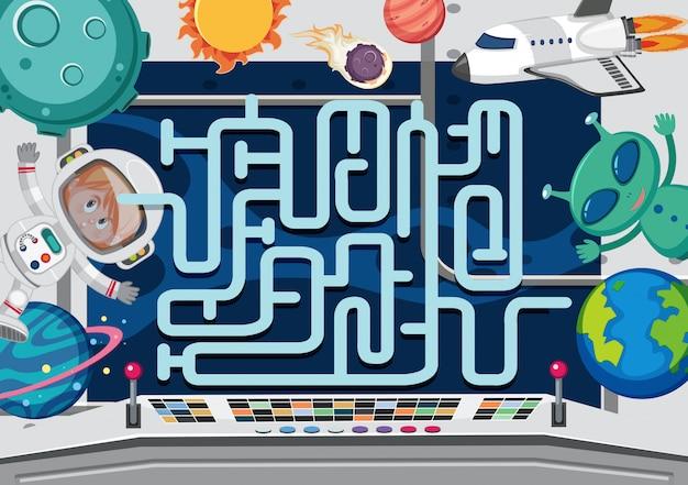 Um modelo de jogo de labirinto de espaço Vetor Premium