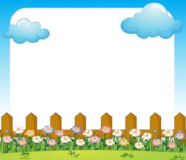 Um modelo de papel vazio com um jardim e nuvens Vetor grátis