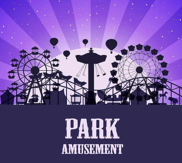 Um modelo de parque de diversões de silhueta Vetor grátis
