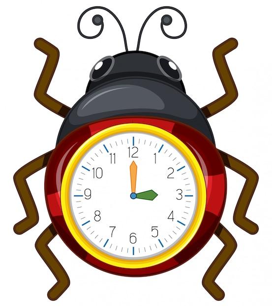 Um modelo de relógio joaninha Vetor grátis