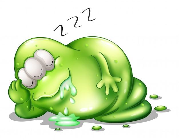 Um monstro de greenslime dormindo Vetor grátis
