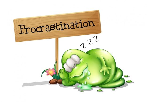 Um monstro verde procrastinando ao lado de uma tabuleta Vetor grátis
