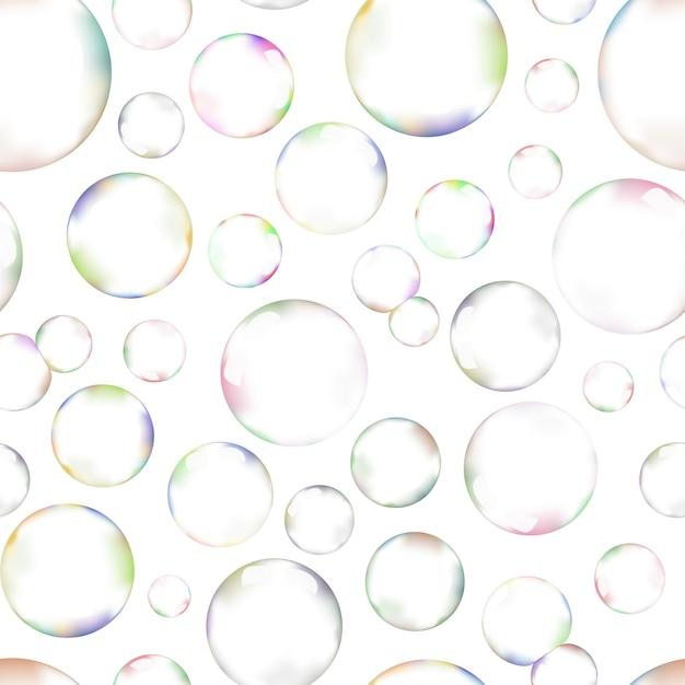 Um monte de bolhas de sabão no padrão sem costura de fundo branco Vetor Premium
