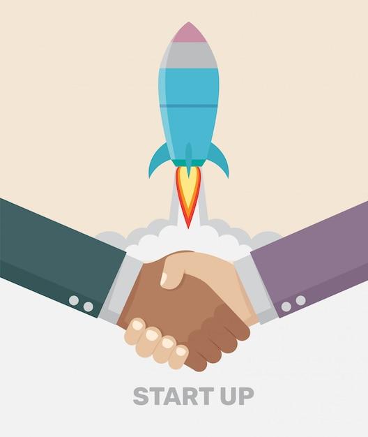 Um negócio do aperto de mão negócio start up conceito. Vetor Premium