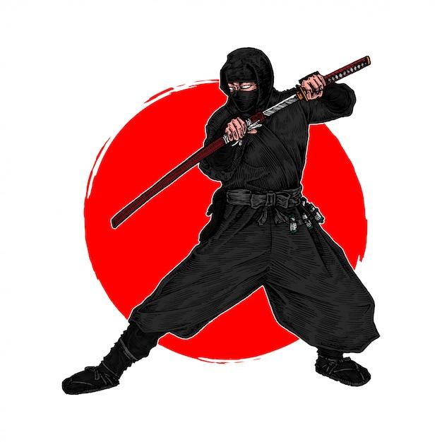 Um ninja shinobi em posição de lutar contra um inimigo com sua katana, mão desenhada ilustração Vetor Premium