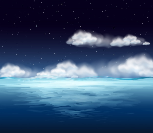 Um oceano no fundo da noite Vetor Premium