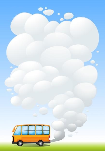 Um ônibus de laranja que emite fumaça Vetor grátis