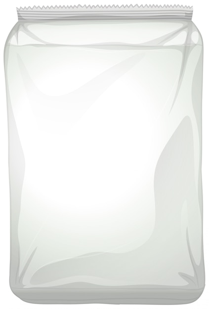 Um pacote de plástico em branco sobre fundo branco Vetor grátis