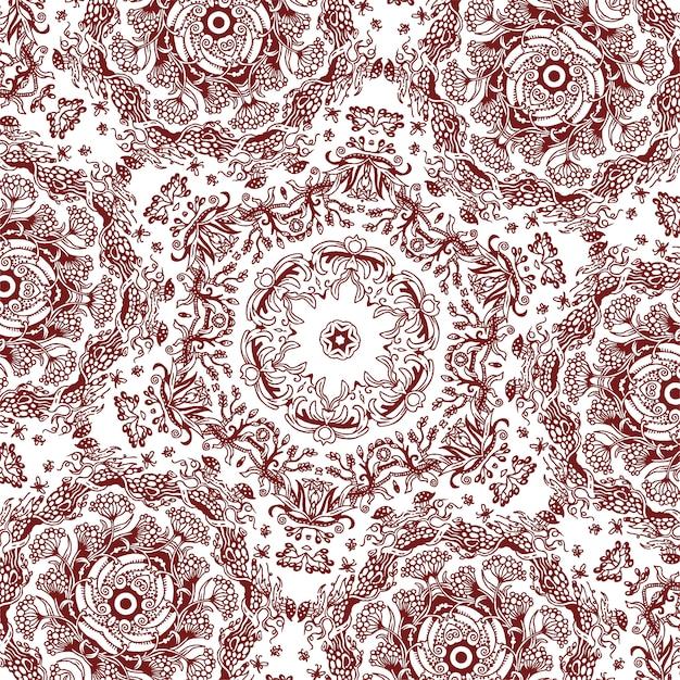 Um padrão floral quadrado desenhado à mão, fundo monocromático Vetor Premium