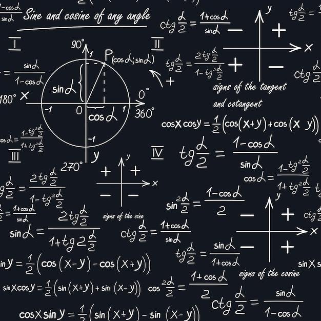 Um padrão matemático sem costura com formas geométricas e fórmulas Vetor Premium
