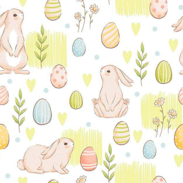 Um padrão sem emenda bonito com coelhos, cenouras e ovos coloridos. projeto primavera páscoa com pães. imitação de aquarelas artesanais. apartamento de desenho animado. isolado em um fundo branco. Vetor Premium