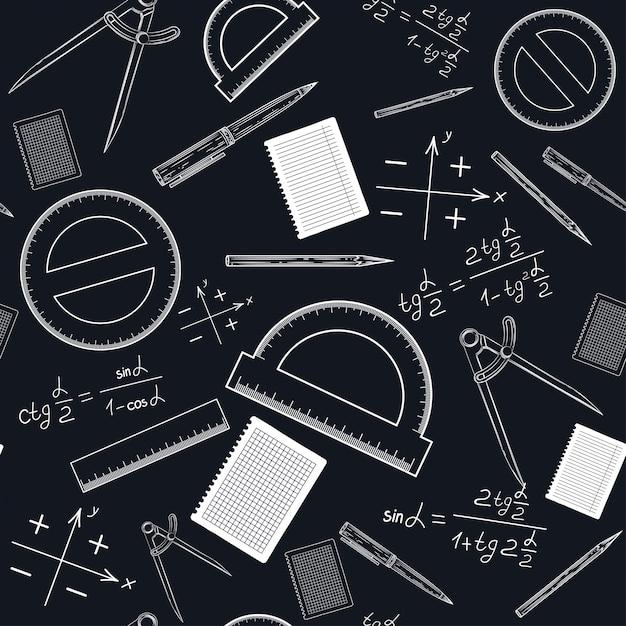 Um padrão sem emenda com material escolar Vetor Premium