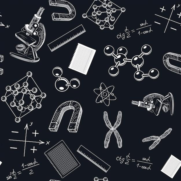 Um padrão sem emenda com um microscópio e cromossomos. Vetor Premium