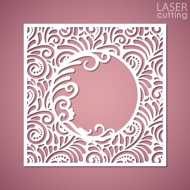 Um painel quadrado com padrão de renda e moldura redonda no centro. imagem adequada para corte a laser, plotadora ou impressão. Vetor Premium