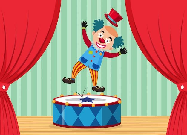 Um palhaço de circo no palco Vetor Premium