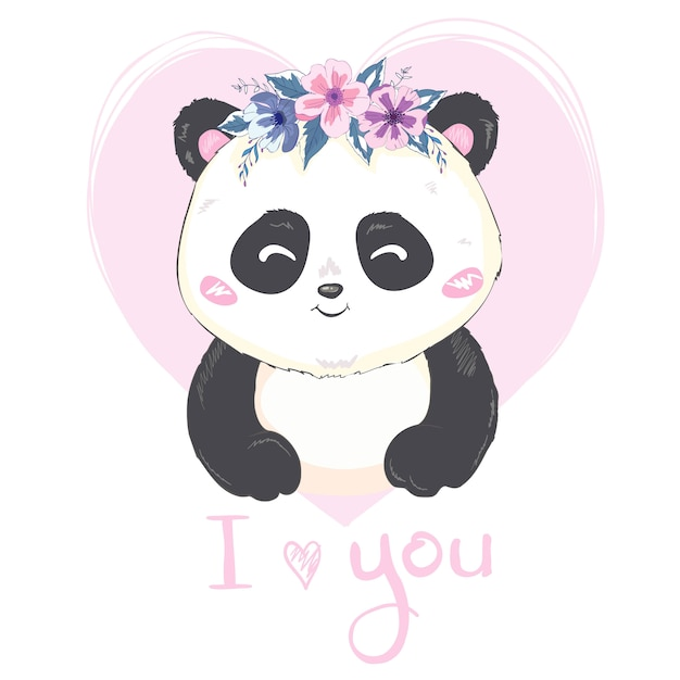 Um panda gigante bonito dos desenhos animados está sentado no chão Vetor Premium