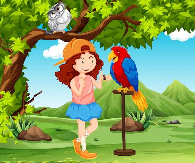Um papagaio de treinamento de menina Vetor Premium