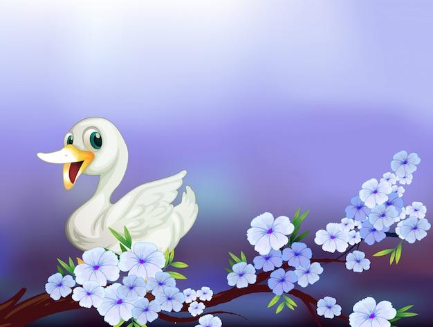 Um, papelaria, com, um, pato branco, e, flores Vetor grátis