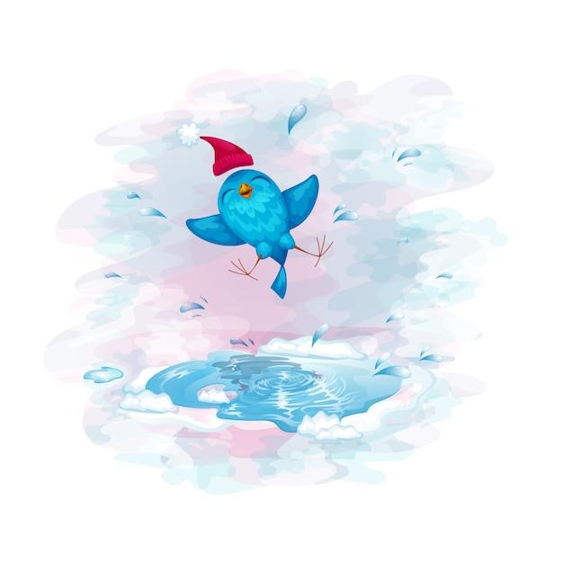 Um pássaro engraçado em um divertimento do tampão que salta em uma poça. Vetor Premium