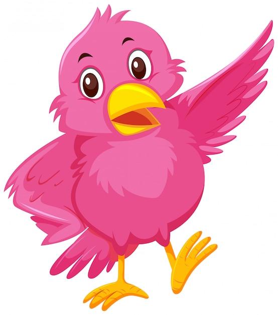 Um pássaro rosa fofo Vetor Premium