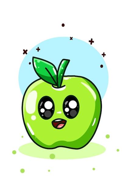 Um pequeno desenho a mão de maçã verde Vetor Premium