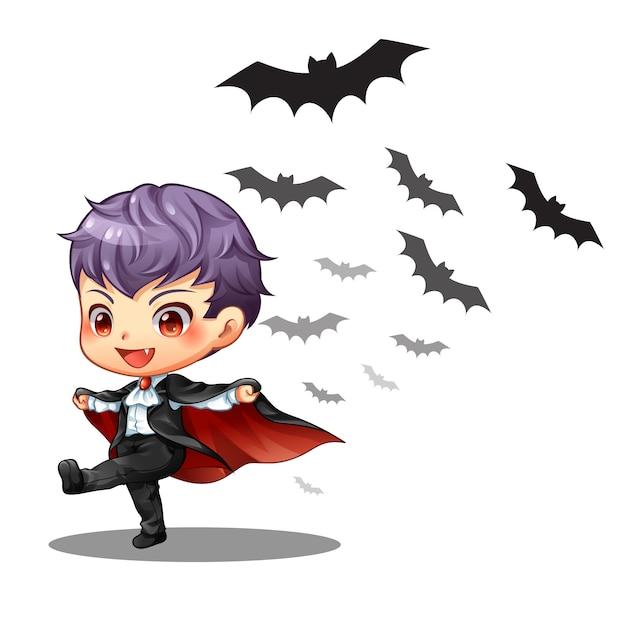 Um pequeno vampiro menino e morcego no halloween Vetor Premium