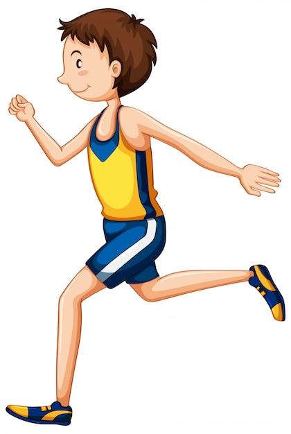Um personagem de corredor em fundo branco Vetor grátis