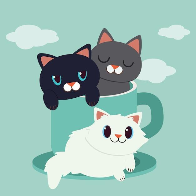 Um, personagem, de, cute, gato, sentando, em, a, copo verde Vetor Premium