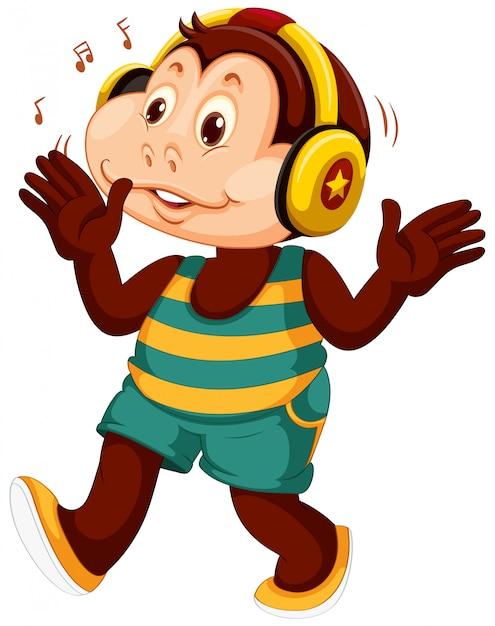 Um personagem de desenho animado de macaco Vetor grátis