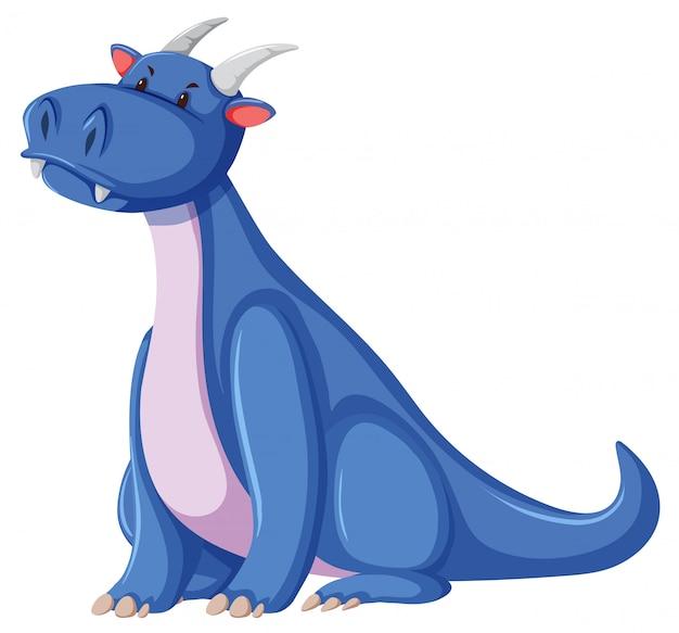 Um personagem de dragão no fundo branco Vetor grátis